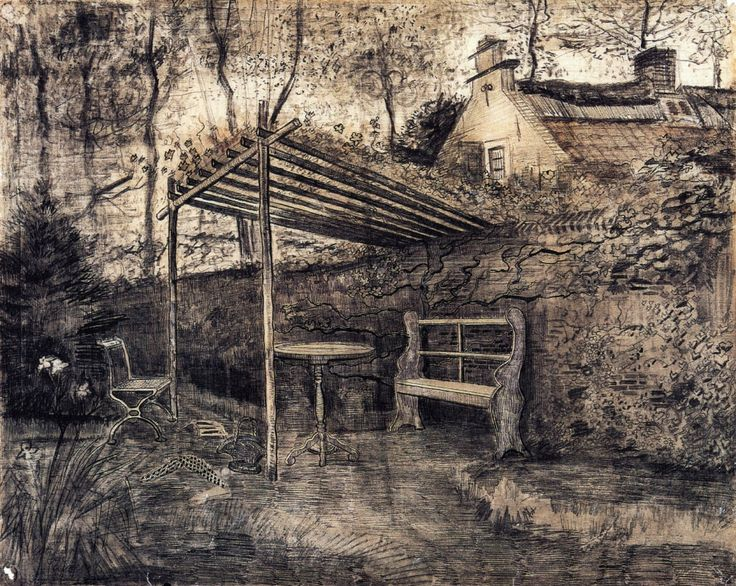 The Garden of the Parsonage with Arbor by Vincent van Gogh   via wikipaintings.org/en/vincent-van-gogh/