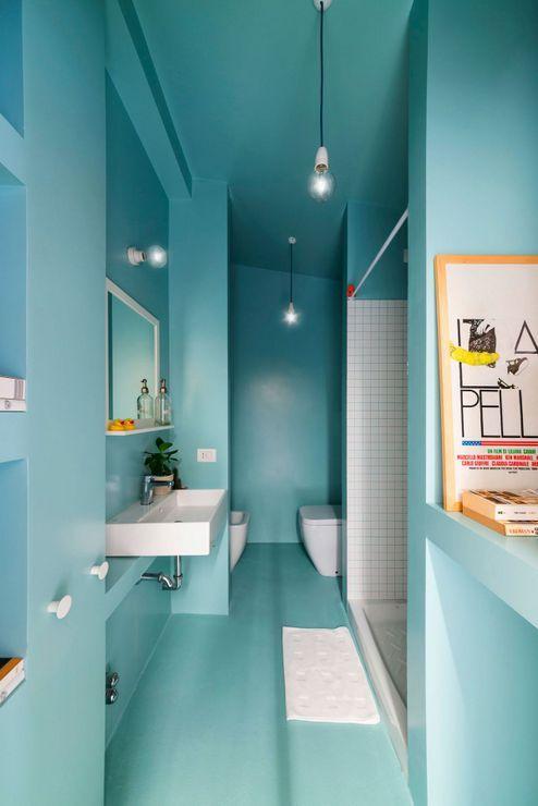 appartement optimis avec des placards en bois 9 - Salle De Bain Turquoise Et Bois