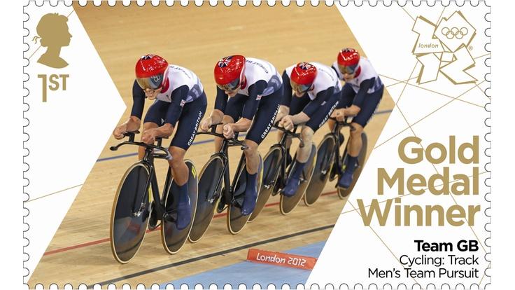 Ed Clancy, Geraint Thomas, Steven Burke and Peter Kennaugh of the GB team pursuit team