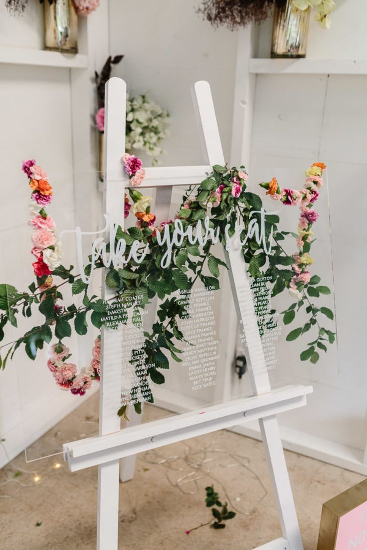 floral perspex seating chart