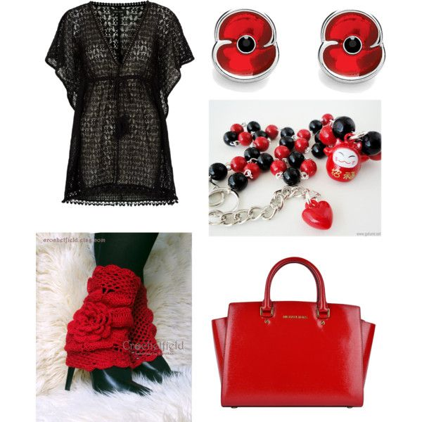 BLACK & RED by crochetfield on Polyvore featuring moda and MICHAEL Michael Kors
