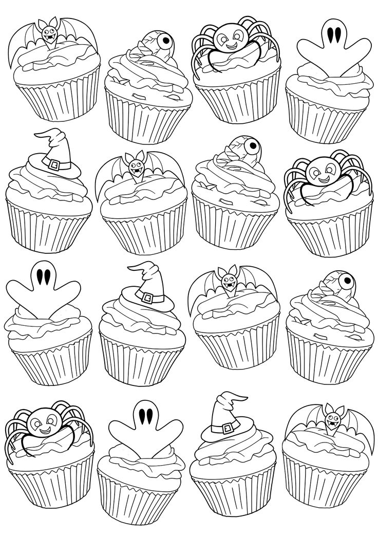 Free Adult Coloring Book Page #Halloween Cupcakes by Blue Star Coloring