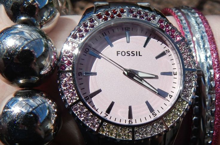 NEW WOMEN'S Fossil WATCH BQ1218 SS Band Pink Face Multi-BLING Bezel ATTACHED TAG #Fossil