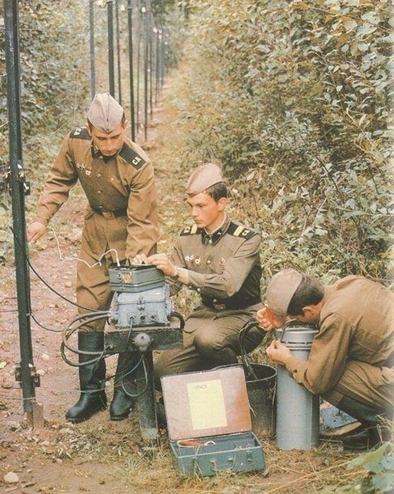 Soviet Army technicians repairing their radio.