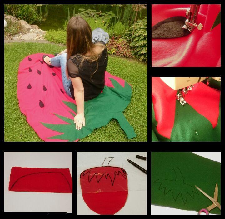 DIY Erdbeer Stranddecke- Ganz einfache Anleitung zur einer Strawberry Sommerdecke basteln