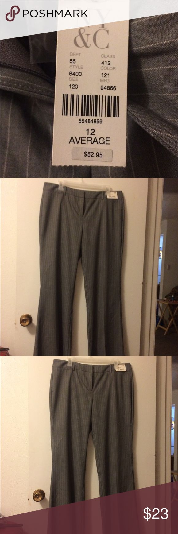 "Pants with white pin stripe NWT grey pants with white pin stripe. Great for work. I bought without trying them on and they didn't fit. Size 12 W 17"" L 41"" button to crotch 9.5"". (If anyone one has the proper measurement term please let me know) TY These pant legs have a bit of flare.  They are cute not crazy bell bottoms New York & Company Pants Boot Cut & Flare"