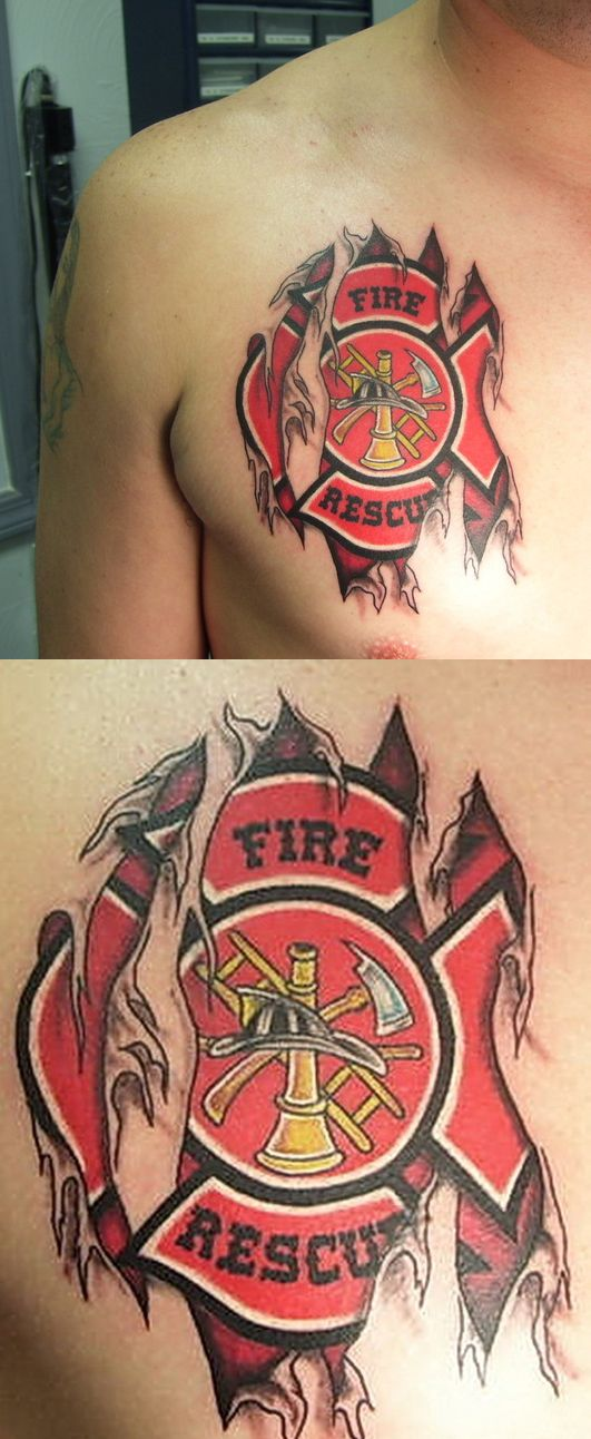Firefighter Maltese Skin Tear Tattoo. I'd never get it but its pretty cool