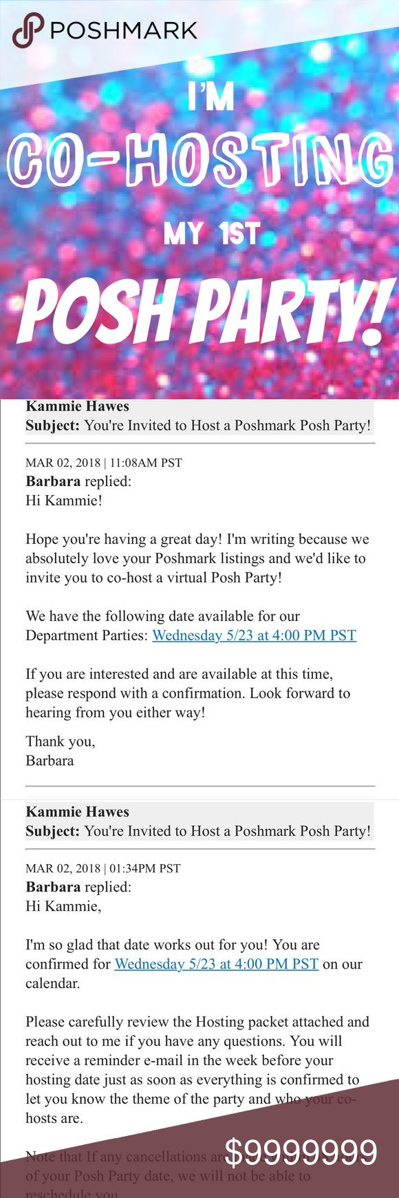 What comes before Part B? PART-AY!🎉🎉🎉🎉🎉 I'm SO excited to be CO-HOSTING my first Posh Party! Help me spread the word and tag yourself and your PFF's for possible Host Picks!   Join Me!  Date: May 23rd, 2018 Time: 4 P.M. (PST) 6 P.M. MY TIME (CST) Theme: TBA   🛑🛑PLEASE DO NOT SEND ANY LISTINGS TO MY DRESSING ROOM🛑🛑  ⭐️⭐️YOU MUST BE POSH COMPLIANT⭐️⭐️  🎉🎉I AM SOOO EXCITED ABOUT REVIEWING YOUR CLOSETS FOR HOST PICKS!🎉🎉  💃🏼💃🏼GET READY TO PARTY💃🏼💃🏼 Other