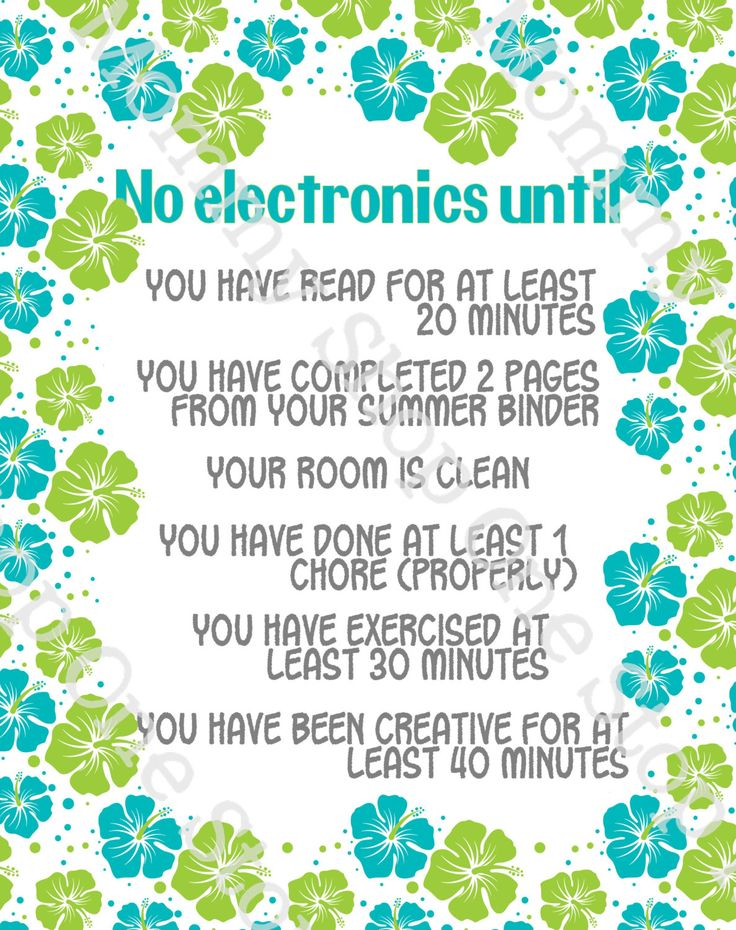 Summer Electronics / Screen-time Rules Printable by TheOneStopMommyShop on EtsyMelissa Clements