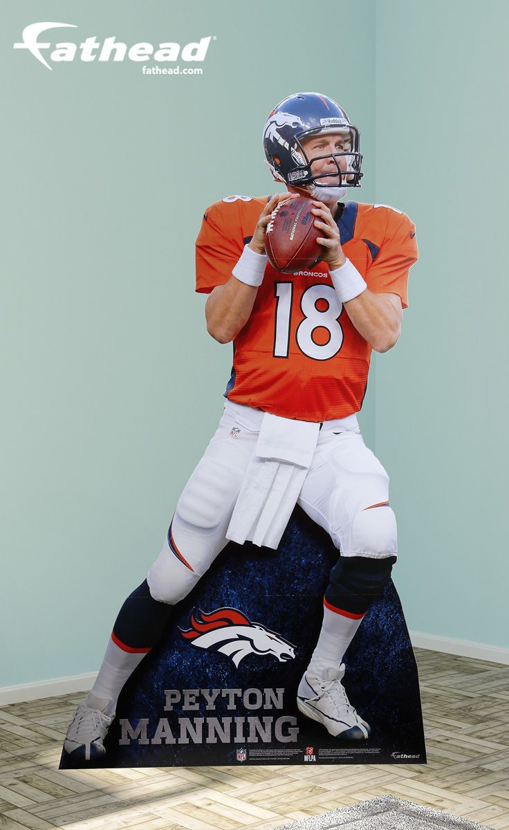 Peyton Manning Stand Out  | Party Décor | If you're looking for the right Denver Broncos gift, Fathead has an amazing, life-size present that is brighter and more durable than any cardboard cutout, or life-size standup. Our Peyton Manning Stand Out is perfect for a birthday, graduation, holidays or just because. SHOP http://www.fathead.com/nfl/denver-broncos/peyton-manning-stand-out-life-size-cut-out/ | Man Cave | Kids Bedroom