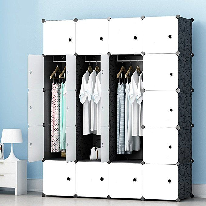 Amazon Com Megafuture Modern Portable Closet For Hanging Clothes Combination Armoire Modular Cabinet For Portable Wardrobe Hanging Clothes Modular Cabinets
