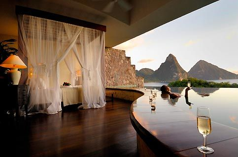 Anse Chastanet Resort, St. Lucia.   Open air suite with amazing views of Jade Mountain!