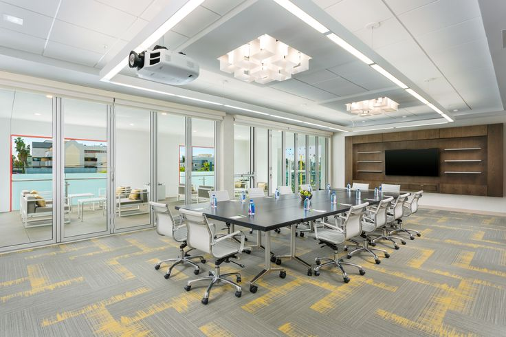 The board room at the Courtyard Marriott Santa Monica designed by HBA Studio.