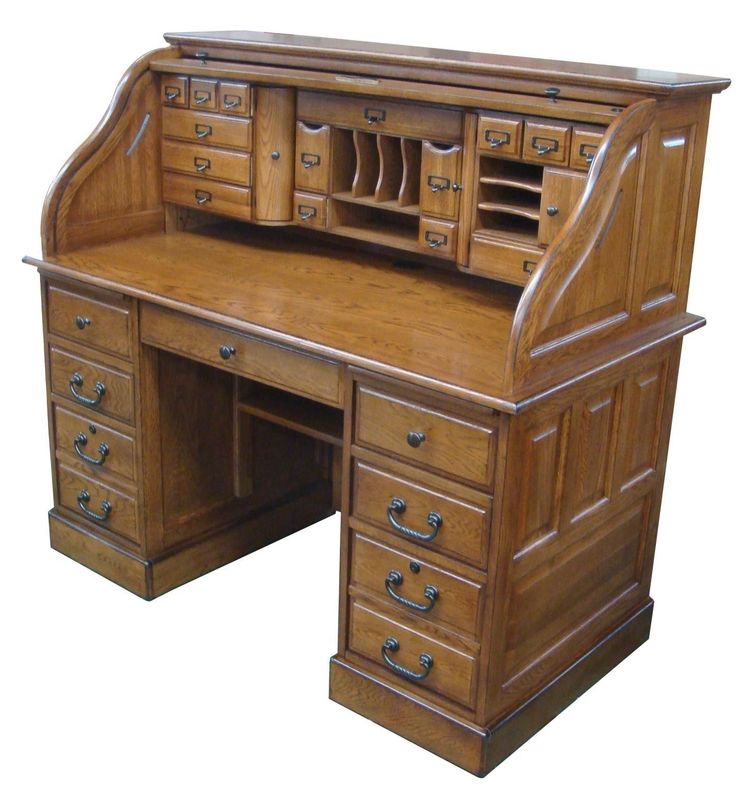 "Features: -Style: Rustic. -Made in the USA. Country of Manufacture: -United States. Desk Type: -Secretary / Roll Top Desk. Locking Drawer: -Yes. Dimensions: Overall Height - Top to Bottom: -49""."