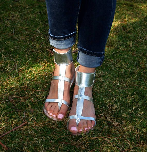 Silver Sandals Gladiator Ankle Cuff sandals Leather Sandals
