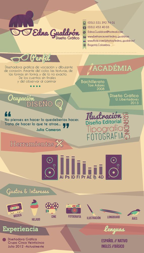 Curriculum Vitae by Edna Gualdrón, via Behance - quirky profile silhouette