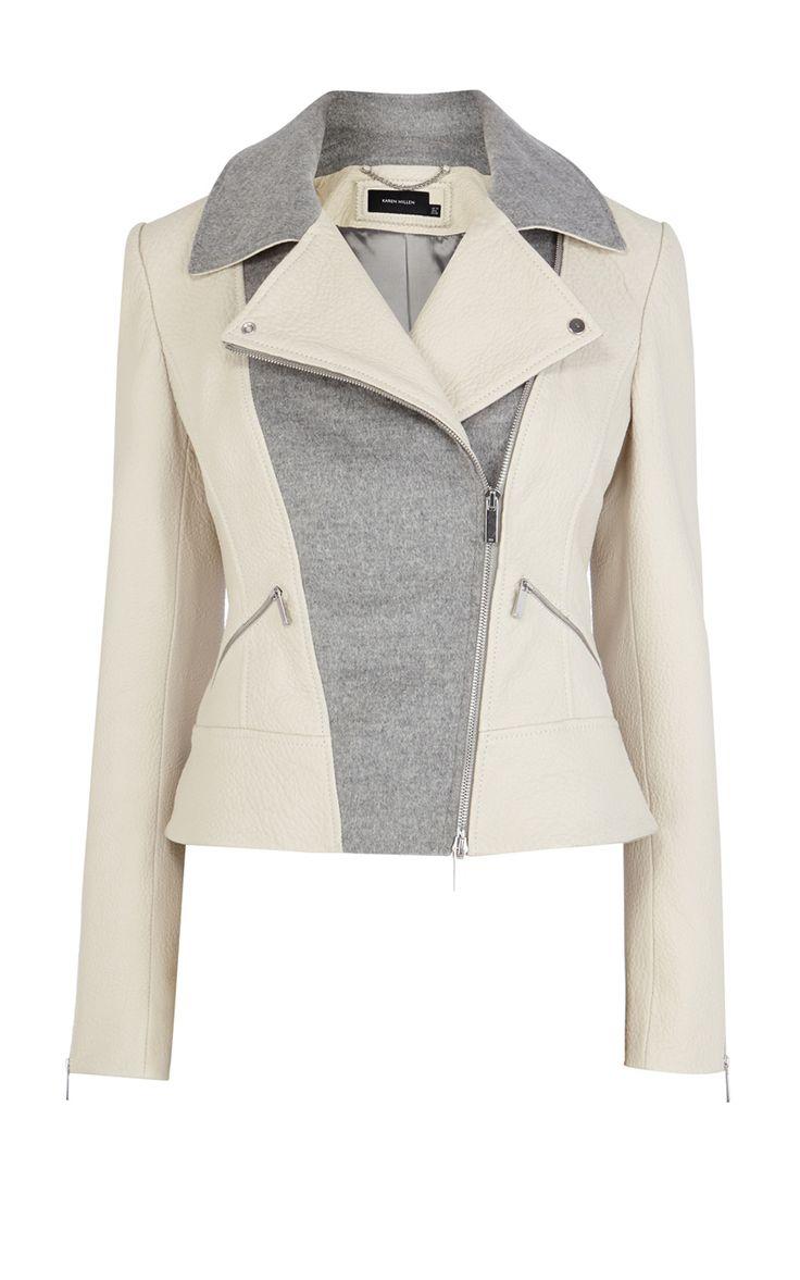 Pastel Leather Biker Jacket | Luxury Women's saleouterwear | Karen Millen