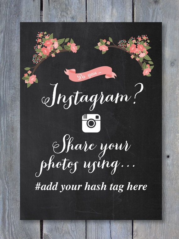 INSTAGRAM Sign - Chalkboard - Wedding - Editable Printable File - Print Your Own - Add your own hash tag 8 x 10 - Instant download