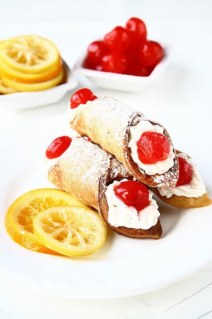 Ultra delicious (gee, can you tell I'm a fan! :D) Sicilian Cannoli. #cooking #food #dessert #baking #Italian #cannoli #Italy #pastry #maraschino_cherries