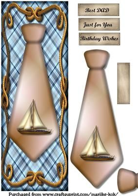 Large DL male card Sailship on Craftsuprint designed by Marijke Kok - great male card with a tie