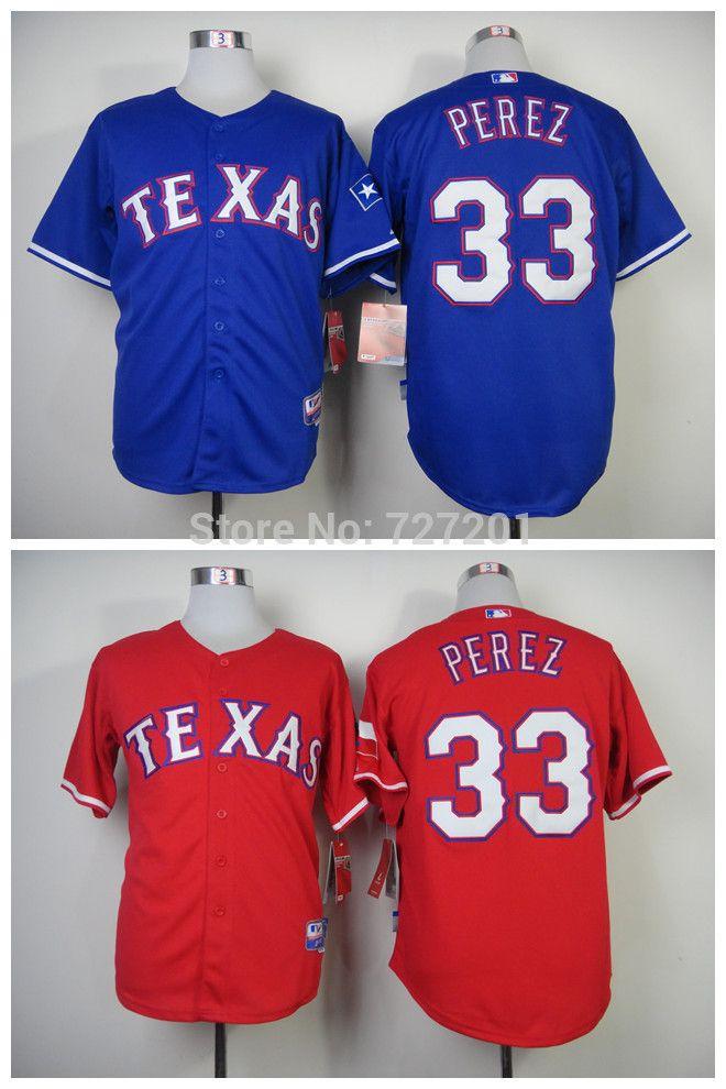 Сшитые мужчины в бейсбол джерси техасские рейнджеры # 33 мартин перес база джерси, Вышивка логотипов, Размер : M-XXXL