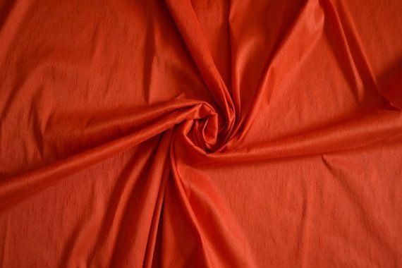 Orange Art Silk Dupioni Orange Faux Silk We by fabWorldFabrics
