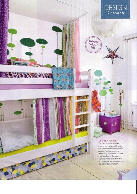 DIY built-in bunk beds with curtains style-it-for-kids