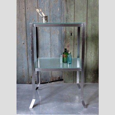 An industrial steel shelf stand