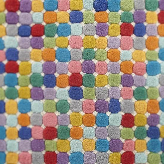 Jelly Bean Throw Rugs: Multi Colored Polka Dot Wool Rug