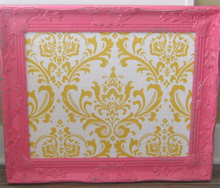 Ornate Framed Pink Bulletin Board Many Sizes Yellow Damask Fabric Magnetic Board Kitchen Girl's Room Memo Board by theDezignShoppe on Etsy https://www.etsy.com/listing/173680829/ornate-framed-pink-bulletin-board-many