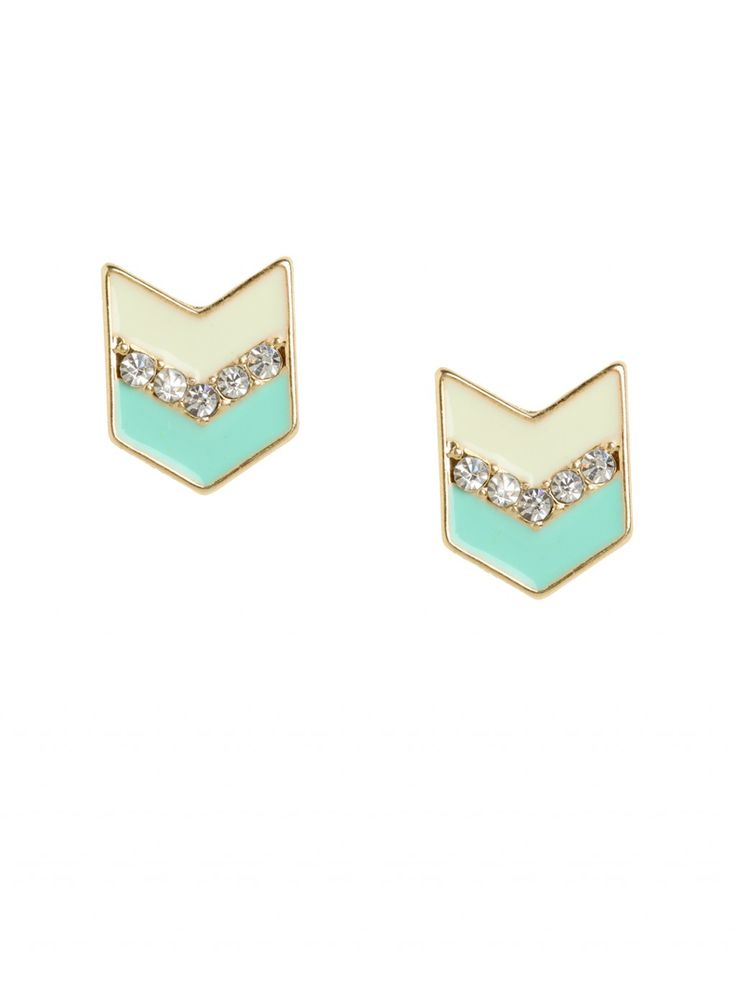Chevron Studs - All Jewelry  These fun little studs bring together a few of our favorite things; a graphic chevron design, a shimmering stripe of rhinestones and a perfectly paired enamel palette.
