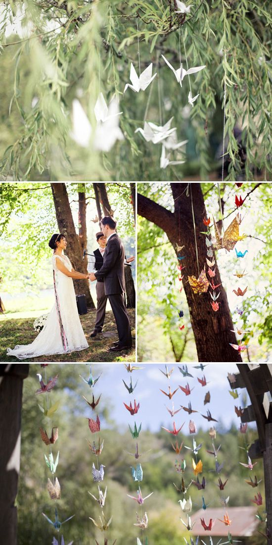 Garden wedding with paper crane decorations
