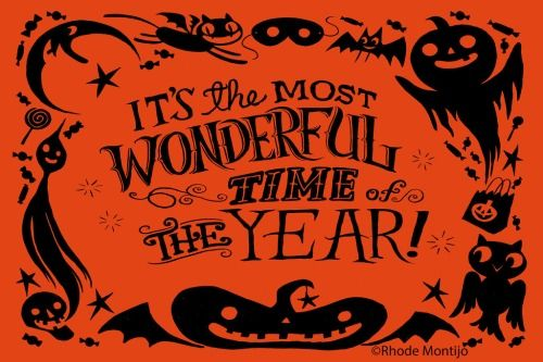 It's the most wonderful time of the year! - Halloween vintage retro style clip art sign pumpkin fall autumn