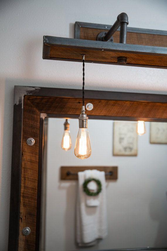 Rustic Industrial Light Steel And Barn Wood Vanity Light W Bulbs L1203 Rustic Industrial Rustic Lighting Wood Vanity