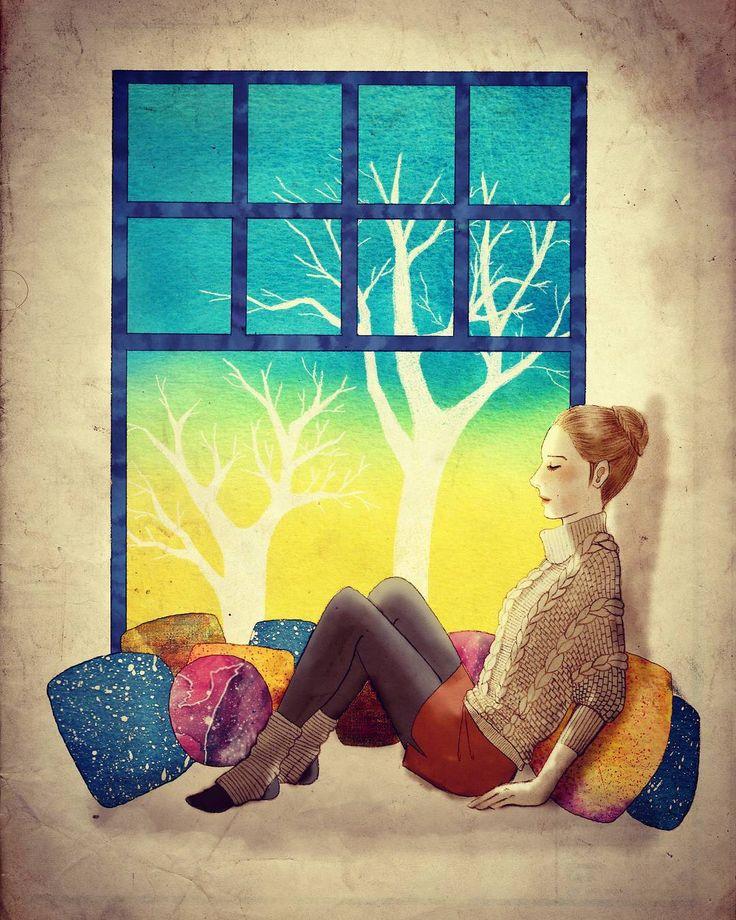 Resting  #illustration #resting #drawing #painting #cushion #window #baywindow #일러스트 #일러스트레이션 #드로잉 #그림 #나무 #우주 #휴식 #창문