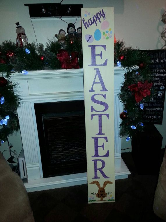 Handcrafted wood creating this Rustic Extra Large Entryway Happy Easter Sign. Sign measures 48x 7 1/4 x 3/4.  This sign can be done as a reversible sign. Check out our shop for other porch signs. Any style can be done on the other side. Including but not limited to :Welcome, Merry Christmas, Let it Snow, Happy St Patricks Day, Happy Valentines Day more!  The piece has been cut to size, sanded, painted and stenciled with acrylic paint. It has been coated with a clear polycrylic to help…