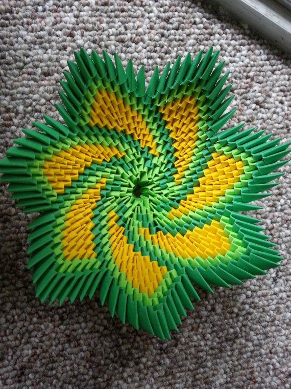 3D Origami Spiral Flower Bowl by YarnRoad on Etsy