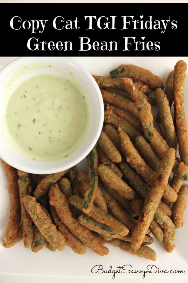 50 More Best Copycat Recipes From Top Restaurants - Copycat TGI Friday's Green Bean Fries - Awesome Recipe Knockoffs and Recipe Ideas from Chipotle Restaurant, Starbucks, Olive Garden, Cinabbon, Cracker Barrel, Taco Bell, Cheesecake Factory, KFC, Mc Donalds, Red Lobster, Panda Express http://diyjoy.com/best-copycat-restaurant-recipes