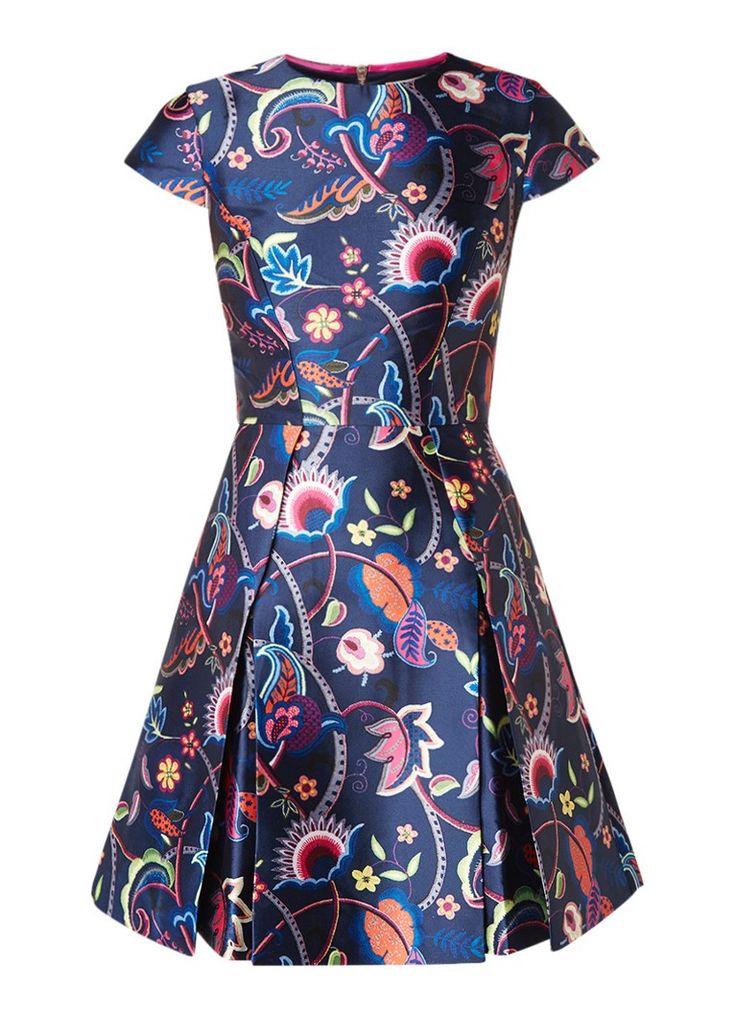 Ted Baker Fluxam A-lijn jurk van satijn met bloemenprint • de Bijenkorf