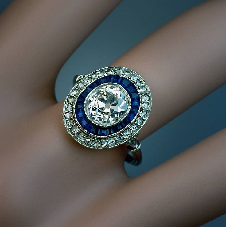 Art Deco Sapphire Diamond Engagement Ring | From a unique collection of vintage engagement rings at https://www.1stdibs.com/jewelry/rings/engagement-rings/