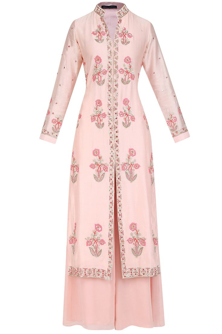Salmon pink floral embroidered kurta and palazzo pants set available only at Pernia's Pop Up Shop.