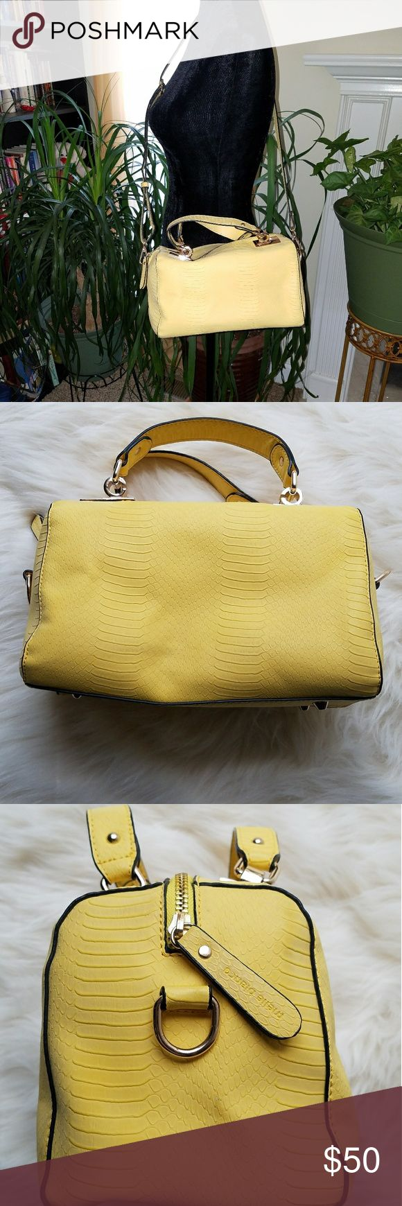 Awesome yellow Melie Bianco reptile print satchel EUC yellow Melie Bianco reptile print satchel No rips, marks, no stains- impeccable inside and out Comes with shoulder strap Melie Bianco Bags Satchels