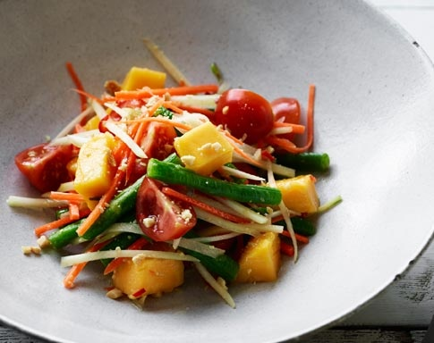 Spice up your life with this yummy Som Tam (Green Papaya & Mango Salad) recipe from Tobie Puttock -  http://www.mangoes.net.au/enjoy/tobieputtock.aspx