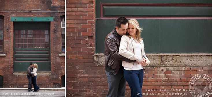 Liberty Village engagement Photos, Vintage architecture. Toronto couples photography #sweetheartempirephotography