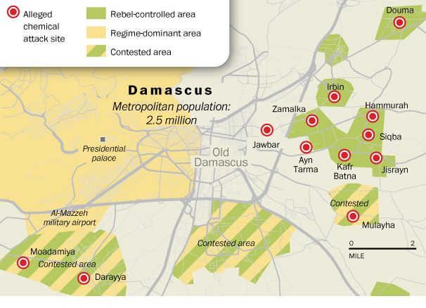 A map of the alleged chemical attack sites in Damascus via The Washington Post