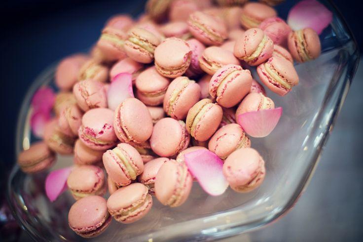 Mini rose and white chocolate macarons.