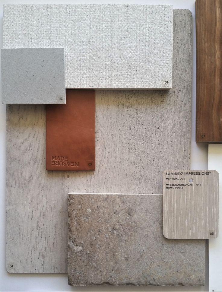 Separation Creek Project Kitchen: Impressions Laminex Formwood (riven finish), Caesarstone Raw Concrete Benches and Laminex Natural Black kickboards. #interiordesign #colourboard #pivothomes #flatlay #interiorinspo #mademeasure #laminex