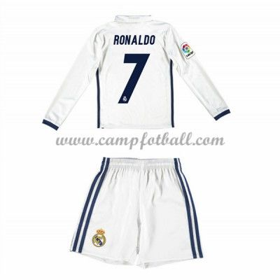 Fotballdrakter Barn Real Madrid 2016-17 Ronaldo 7 Hjemme Draktsett Langermet