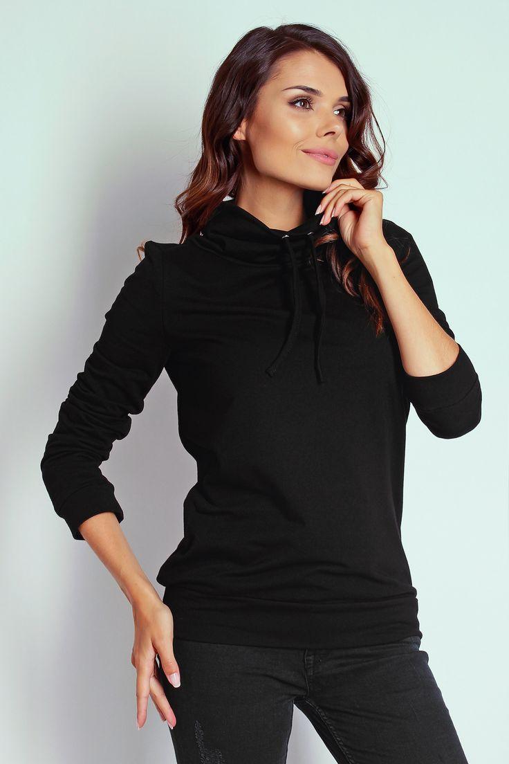Czarna bluza damska z wyższym kołnierzem - TheTwiggyShop.com