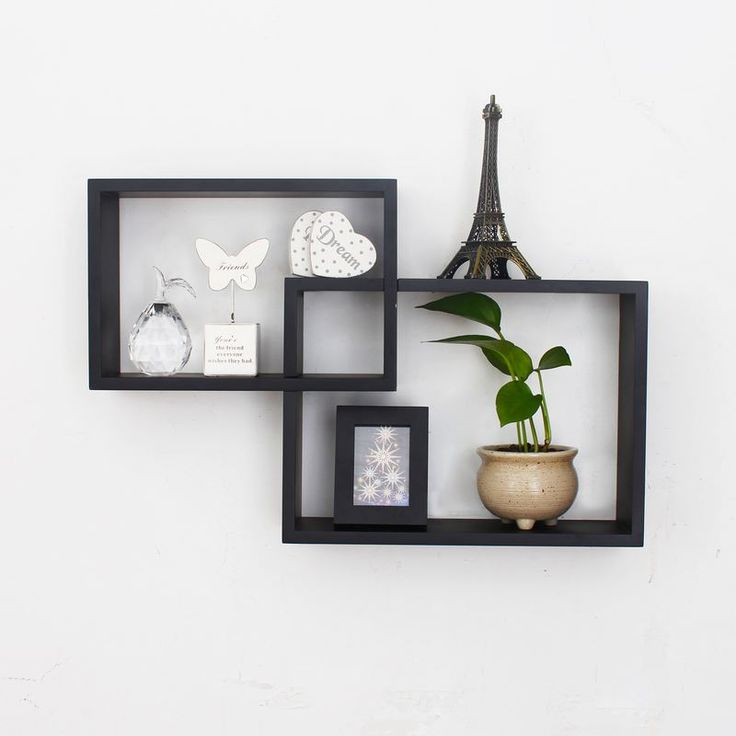 floating shelves adeco decorative black wood rectangular floating collage wall shelves